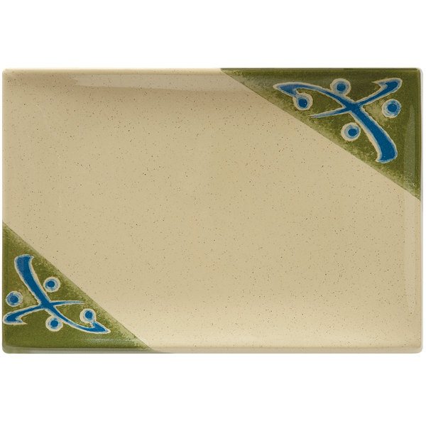"""GET 138-TD Japanese Traditional 8"""" x 5 1/2"""" Rectangular Plate - 12/Case"""