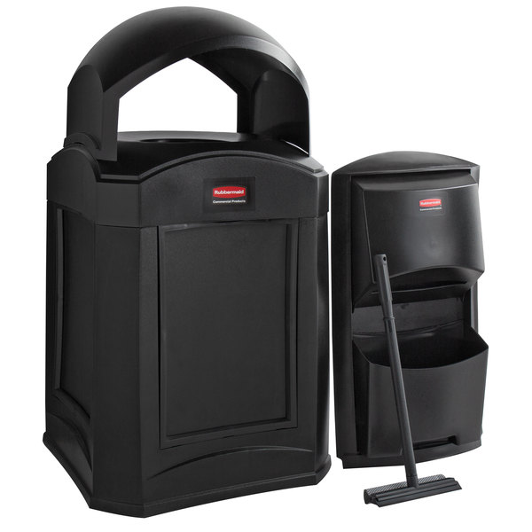 Rubbermaid Landmark Series 35 Gallon Black Wastecan with Dome Top, Panel Frame / Rigid Plastic Liner, and Windshield Washing Kit Main Image 1