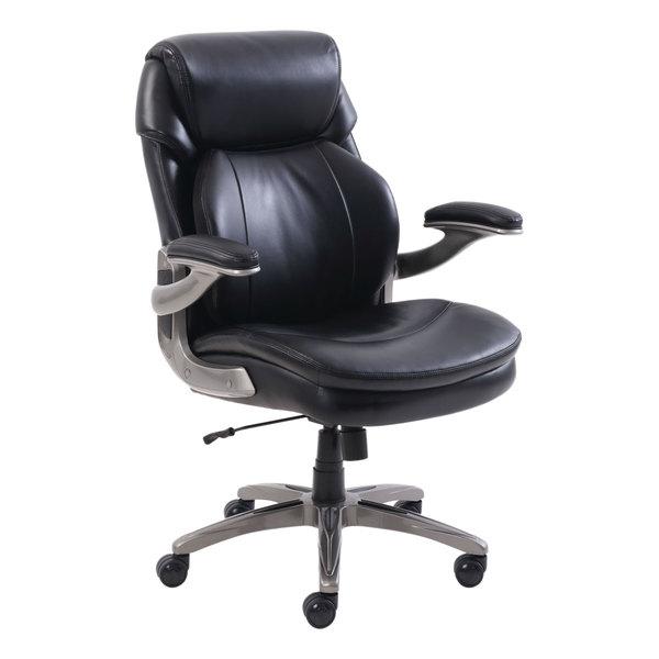 Serta 48966 SertaPedic Cosset Mid-Back Black Leather Executive Office Chair Main Image 1