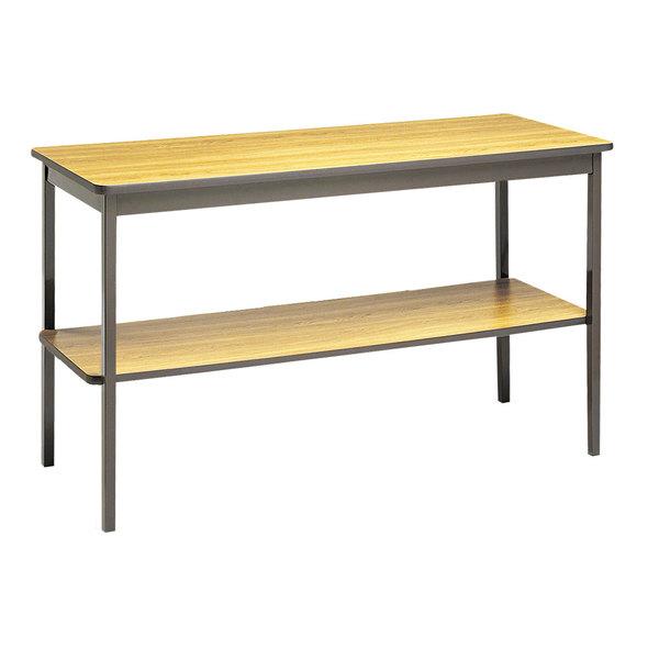 "Barricks UTS1848LQ 48"" x 18"" Oak / Brown Rectangular Utility Table with Bottom Shelf Main Image 1"