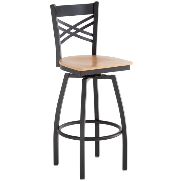Sensational Lancaster Table Seating Cross Back Bar Height Black Swivel Chair With Natural Wood Seat Machost Co Dining Chair Design Ideas Machostcouk