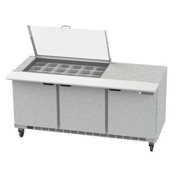 "Beverage-Air SPE72HC-18M-CL Elite 72"" 3 Door Mega Top Refrigerated Sandwich Prep Table"