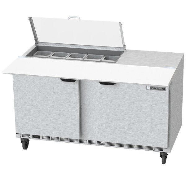 """Beverage-Air SPE60HC-10C-CL Elite 60"""" 2 Door Refrigerated Sandwich Prep Table with 17"""" Deep Cutting Board and Clear Lid"""