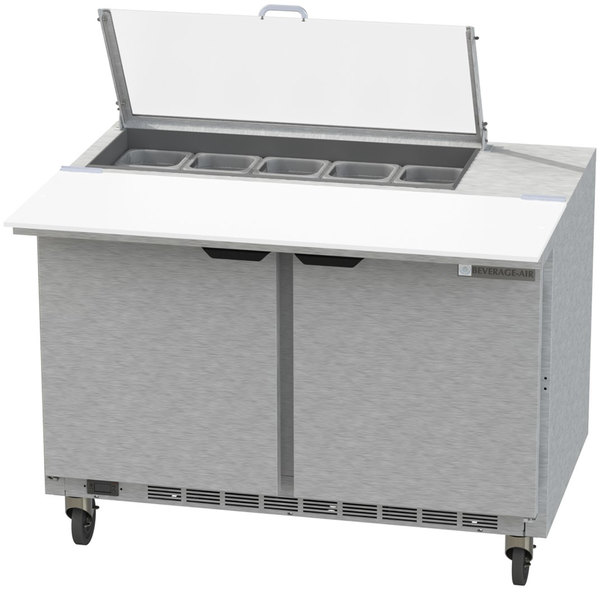 """Beverage-Air SPE48HC-10C-CL Elite 48"""" 2 Door Refrigerated Sandwich Prep Table with 17"""" Deep Cutting Board and Clear Lid"""