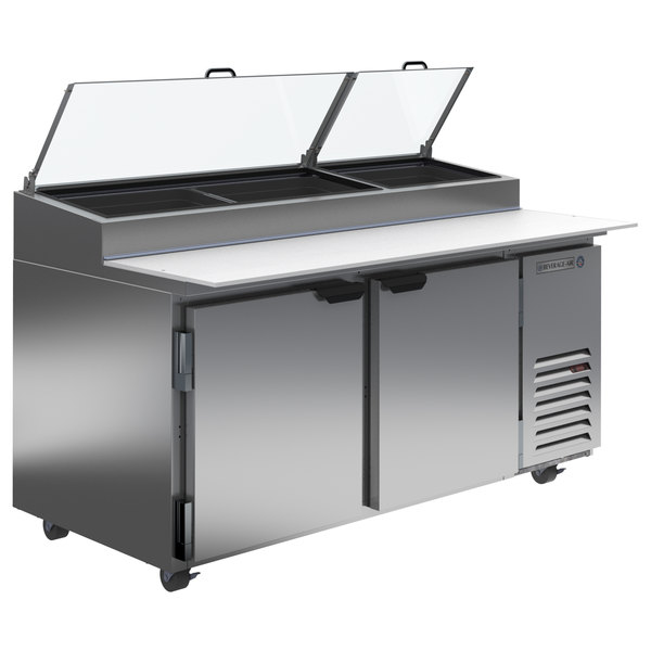 """Beverage-Air DP67-CL 67"""" 2 Door Clear Lid Refrigerated Pizza Prep Table"""