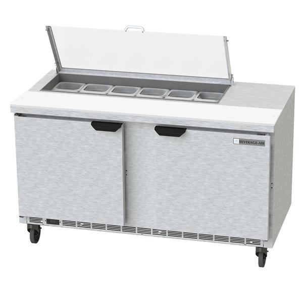 "Beverage-Air SPE60HC-12-CL Elite 60"" 2 Door Refrigerated Sandwich Prep Table"
