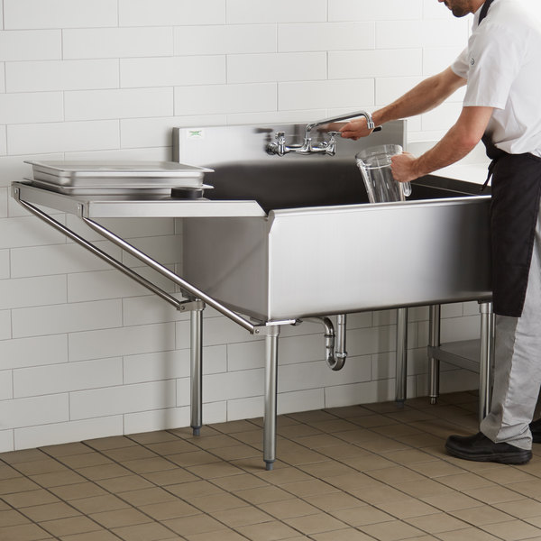 """Regency 36"""" 16-Gauge Stainless Steel One Compartment Commercial Utility Sink with Faucet and 24"""" Drainboard - 36"""" x 24"""" x 14"""" Bowl Main Image 4"""