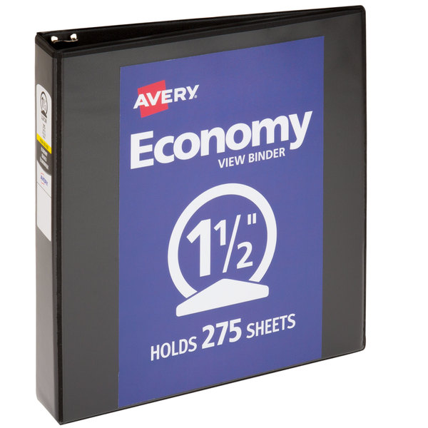 """Avery 05771 Black Economy View Binder with 1 1/2"""" Round Rings Main Image 1"""