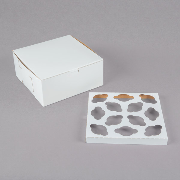 "9"" x 9"" x 4"" White Mini Cupcake / Muffin Box with 12 Slot Reversible Insert - 10/Pack"