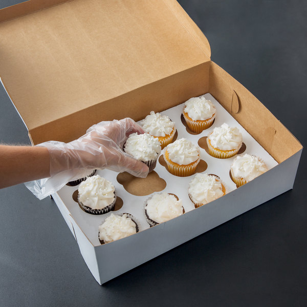 "14"" x 10"" x 4"" White Cupcake / Muffin Box with 12 Slot Reversible Insert - 10/Pack"