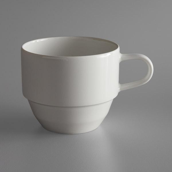 Schonwald 9125119 Allure 6.38 oz. Bone White Stackable Porcelain Tea Cup - 6/Case Main Image 1
