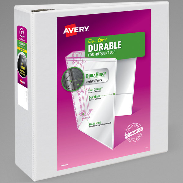Avery 09801 DuraHinge White View Binder with 4 inch Non-Locking One Touch EZD Rings