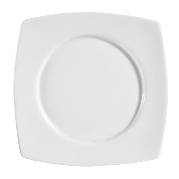 "CAC RCN-SQ8 Bright White Clinton Round in Square Plate 8 7/8"" - 24/Case Main Image 1"