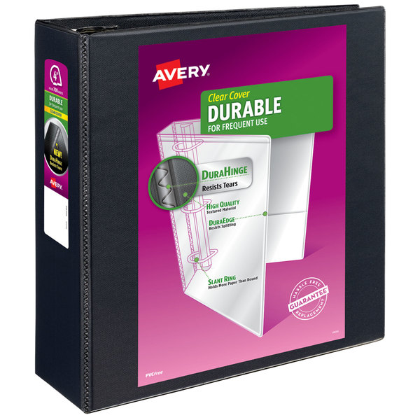 Avery 09800 DuraHinge Black View Binder with 4 inch Non-Locking One Touch EZD Rings