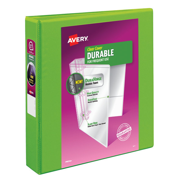 """Avery 17835 Green Durable View Binder with 1 1/2"""" Slant Rings Main Image 1"""