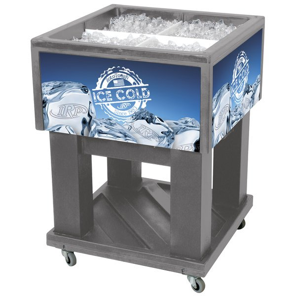 """IRP Gray Mini Texas Icer 5015 Insulated Ice Bin / Merchandiser 32 Qt. with Dividers and Drain 23 1/4"""" x 23 1/4"""""""
