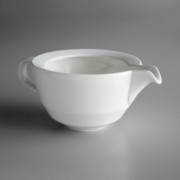 Schonwald 9123830 Allure 10.25 oz. Bone White Porcelain Sauce Boat - 6/Case Main Image 1