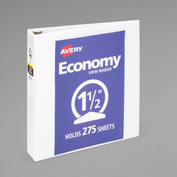 "Avery 05770 White Economy View Binder with 1 1/2"" Round Rings Main Image 1"