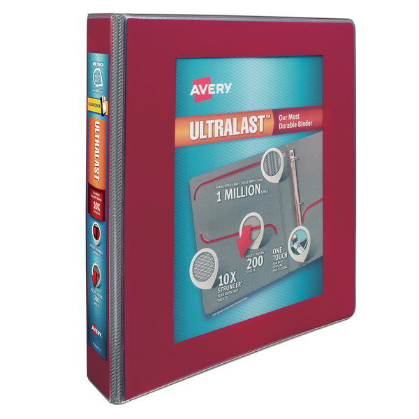 """Avery 79713 Ultralast Red View Binder with 1 1/2"""" Non-Locking One Touch Slant Rings Main Image 1"""