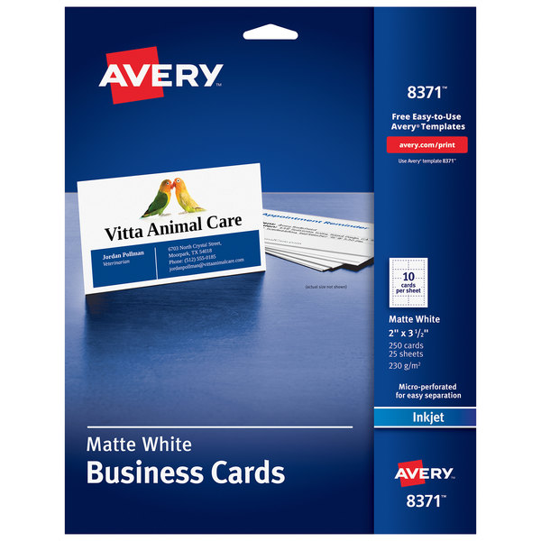 """Avery 08371 2"""" x 3 1/2"""" Matte White Perforated Two-Sided Business Card - 250/Pack Main Image 1"""