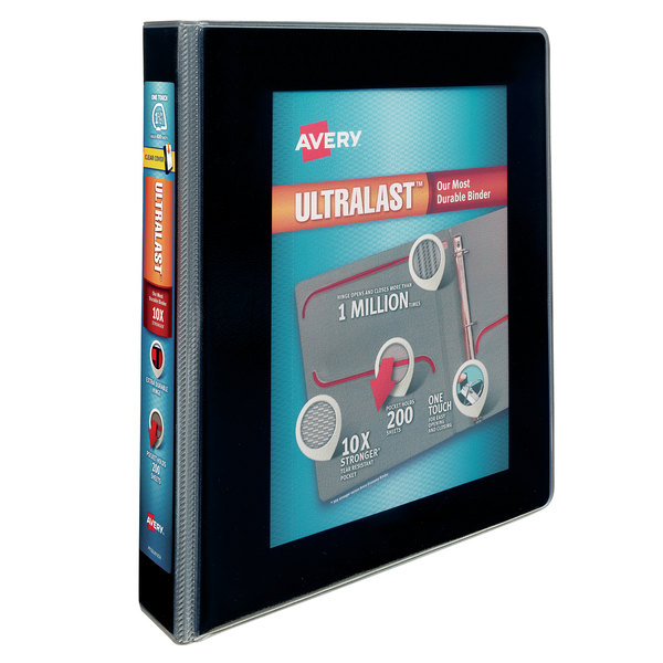 "Avery 79711 Ultralast Black View Binder with 1 1/2"" Non-Locking One Touch Slant Rings Main Image 1"