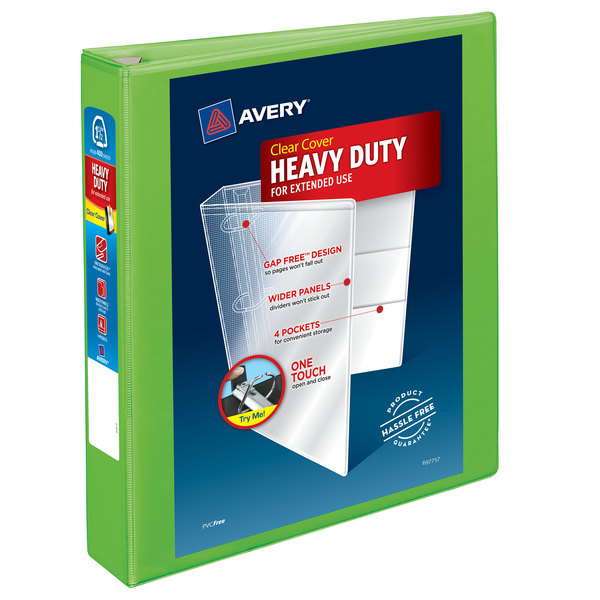 "Avery 79773 Chartreuse Heavy-Duty View Binder with 1 1/2"" Locking One Touch EZD Rings Main Image 1"