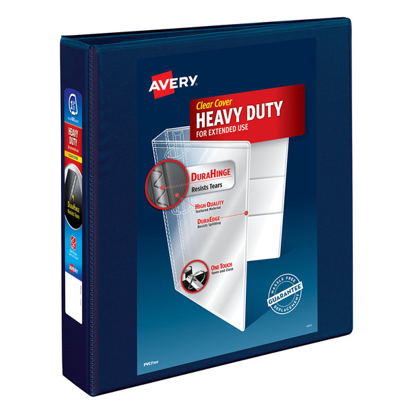 """Avery 79805 Navy Blue Heavy-Duty View Binder with 1 1/2"""" Locking One Touch EZD Rings Main Image 1"""