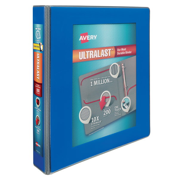 """Avery 79712 Ultralast Blue View Binder with 1 1/2"""" Non-Locking One Touch Slant Rings Main Image 1"""