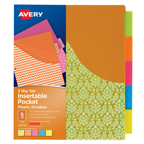 Avery 07714 Big Tab 5-Tab Insertable Assorted Design Plastic Divider Set with Pockets - 5/Set Main Image 1