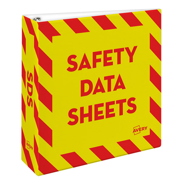 """Avery 18952 Industrial SDS Yellow / Red Non-View Binder with 3"""" Non-Locking One Touch EZD Rings"""
