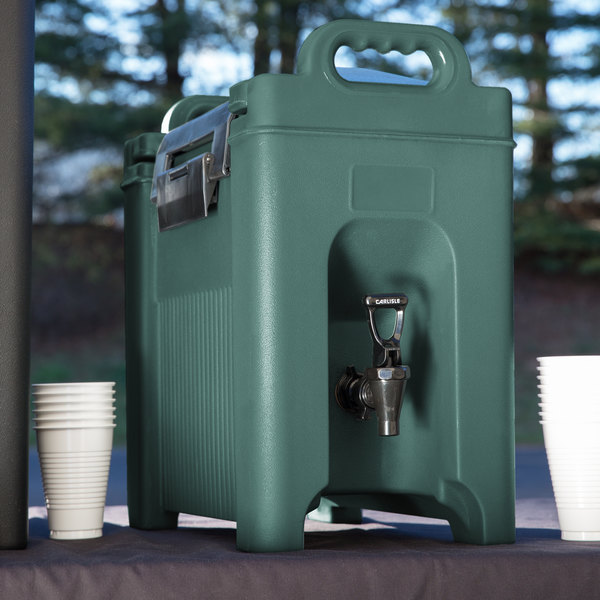 Carlisle XT250008 Cateraide 2.5 Gallon Forest Green Insulated Beverage Dispenser