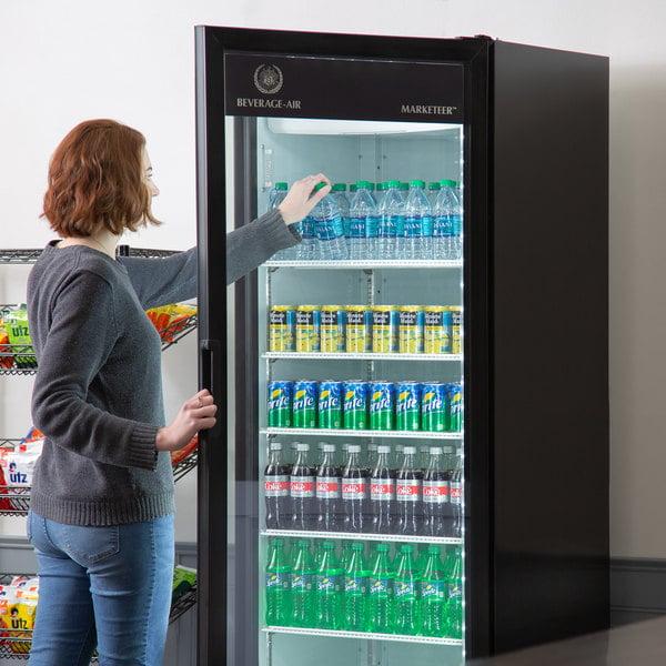 "Beverage-Air MT23-1B 29 1/2"" Marketeer Series Black Refrigerated Glass Door Merchandiser with LED Lighting"