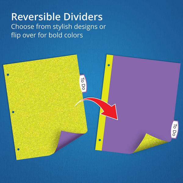 5-Tab Set 24928 Assorted Colors Avery Big Tab Reversible Fashion Dividers