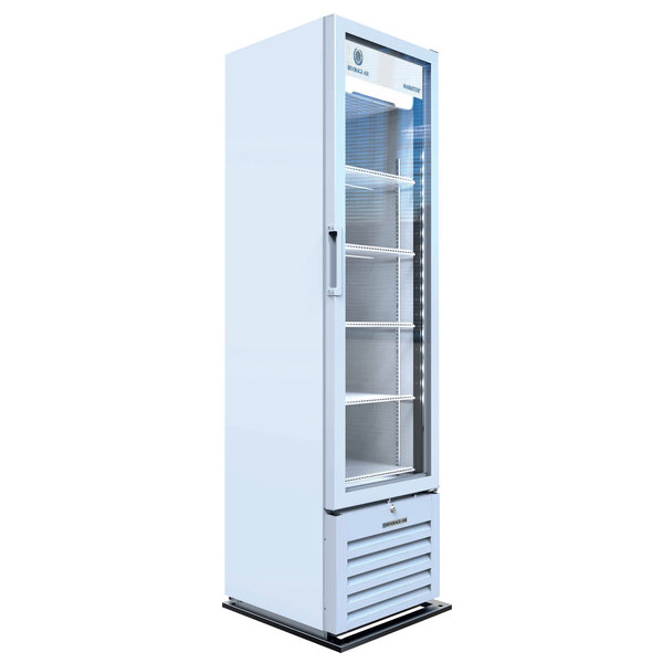 "Beverage-Air MT08-1H6W 19"" Marketeer Series White Refrigerated Glass Door Merchandiser with LED Lighting"