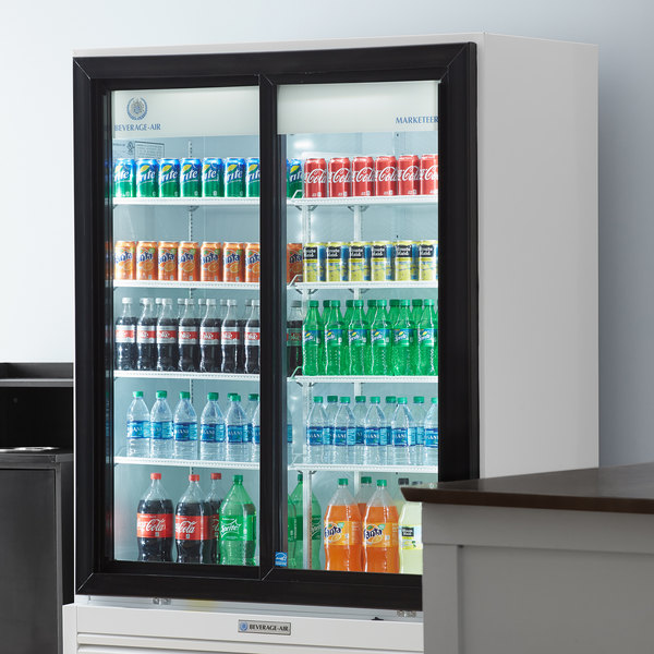 "Beverage-Air MT53-1-SDW 54"" Marketeer Series White Refrigerated Glass Door Merchandiser with LED Lighting"