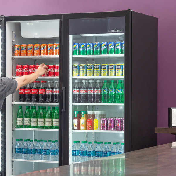"Beverage-Air MT53-1B 54"" Marketeer Series Black Refrigerated Glass Door Merchandiser with LED Lighting"