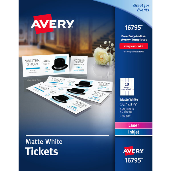 """Avery 16795 1 3/4"""" x 5 1/2"""" Matte White Printable Ticket with Tear-Away Stub - 500/Pack Main Image 1"""