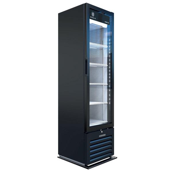 "Beverage-Air MT08-1H6B 19"" Marketeer Series Black Refrigerated Glass Door Merchandiser with LED Lighting Main Image 1"