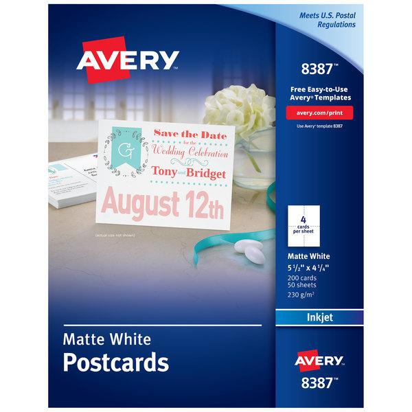 Avery 08387 4 1 4 X 5 1 2 Matte White Printable Two Sided Postcard 200 Box