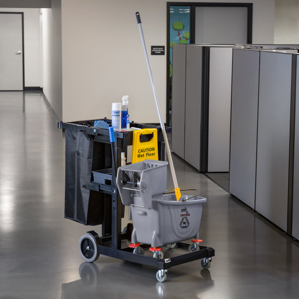 Lavex Janitorial Black Cleaning / Janitor Cart Kit with Gray Mop Bucket, Wet Floor Sign, Mop, and Caddy Main Image 2