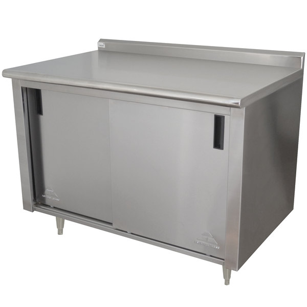 """Advance Tabco CF-SS-304 30"""" x 48"""" 14 Gauge Work Table with Cabinet Base and 1 1/2"""" Backsplash"""
