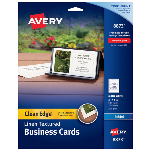 Avery 08873 True Print 2 X 3 1 2 Linen Matte White Clean Edge Two Sided Business Card 200 Pack