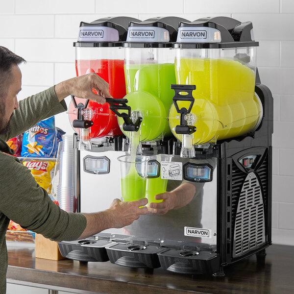 Narvon SM263 Triple 2.6 Gallon Pourover Granita / Slushy / Frozen Beverage Dispenser - 120V Main Image 4