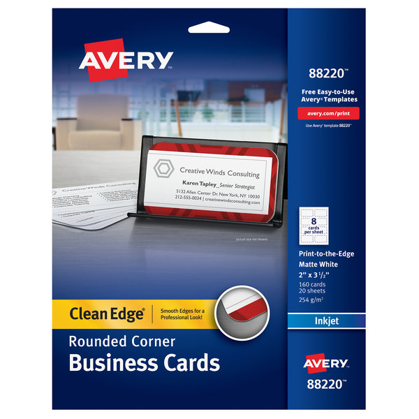 """Avery 88220 2"""" x 3 1/2"""" Matte White Clean Edge Two-Sided Rounded Corner Business Card - 160/Pack Main Image 1"""