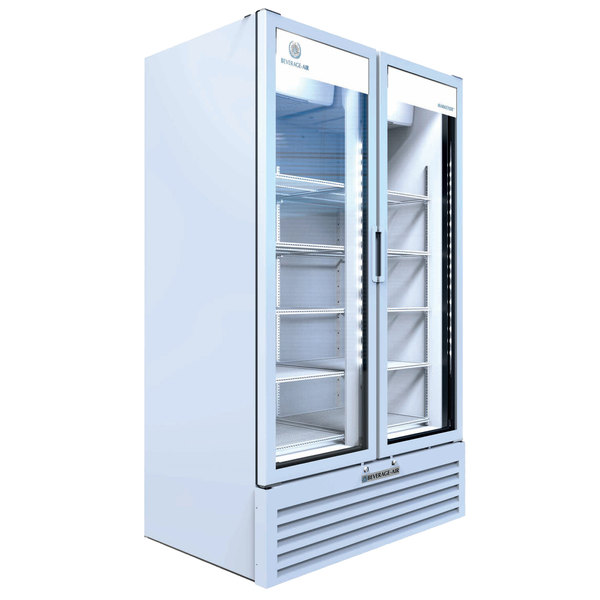 """Beverage-Air MT49-1W 47"""" Marketeer Series White Refrigerated Glass Door Merchandiser with LED Lighting Main Image 1"""