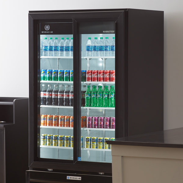 "Beverage-Air MT49-1-SDB 47"" Marketeer Series Black Refrigerated Sliding Glass Door Merchandiser with LED Lighting"