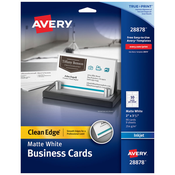 """Avery 28878 True Print 2"""" x 3 1/2"""" Matte White Clean Edge Two-Sided Business Card - 90/Pack Main Image 1"""