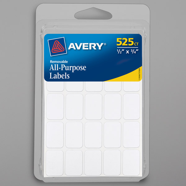 """Avery 06737 1/2"""" x 3/4"""" White Rectangle Write-On Multi-Use Labels - 525/Pack Main Image 1"""