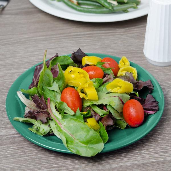 "Carlisle 3300609 Sierrus 7 1/4"" Meadow Green Narrow Rim Melamine Salad Plate - 48/Case"