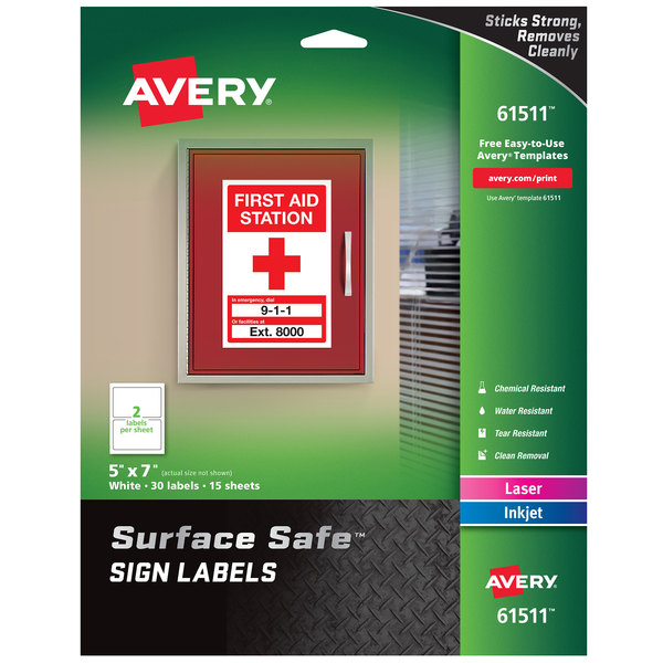 """Avery 61511 Surface Safe 5"""" x 7"""" Rectangle Water and Chemical Resistant Sign Labels - 30/Pack Main Image 1"""
